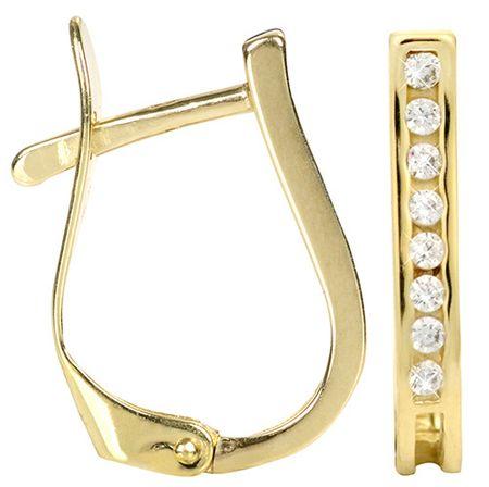 Brilio Zlaté náušnice s kryštálmi 239 001 00559 - 1,30 g žlté zlato 585/1000