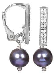 JwL Luxury Pearls Dámské náušnice s pravou perlou a kameny Swarovski Crystals JL0077 stříbro 925/1000