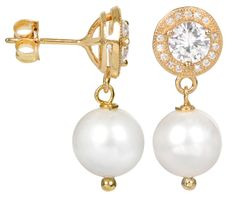 JwL Luxury Pearls Perlové náušnice s pravou bílou perlou JL0102 stříbro 925/1000