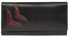 Lagen Női bőr pénztárca fekete / piros 6011 / T