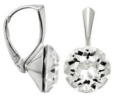 Troli Stříbrné náušnice Dentelle 13 mm Crystal stříbro 925/1000