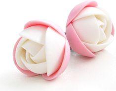 Troli Růžovo-bílé náušnice puzetky kytičky