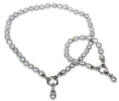 JwL Luxury Pearls Súprava náhrdelníku a náramku z pravých šedých perál JL0131