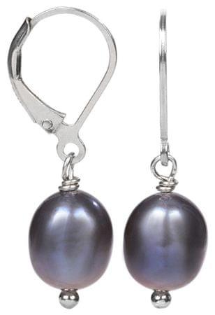 JwL Luxury Pearls Stříbrné náušnice s pravou kovově modrou perlou JL0147 stříbro 925/1000