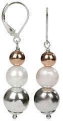 JwL Luxury Pearls Stříbrné náušnice s pravou bílou perlou a kuličkami JL0150 stříbro 925/1000