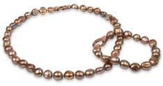 JwL Luxury Pearls Aranybarna színű igazgyöngy nyaklánc és karkötő szett JL0163 ezüst 925/1000