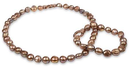 JwL Luxury Pearls Zestaw naszyjnik i bransoletka oryginalnymi tan perły JL0163 srebro 925/1000