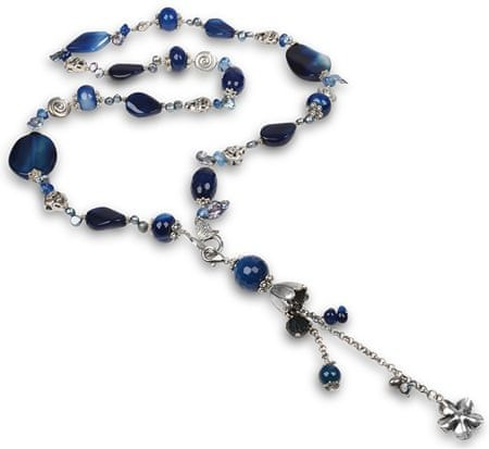 JwL Luxury Pearls Długi naszyjnik z niebieskim agatem i prawdziwych pereł JL0168