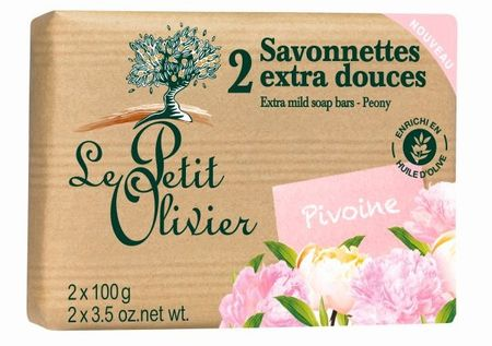 Le Petit Olivier Extra fine mydło Piwonia 2 x 100 g