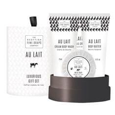 Scottish Fine Soap Darčeková sada Au Lait Sprchový gél 75 ml + telové maslo 75 ml + krém na ruky 75 ml + mydlo 50 g