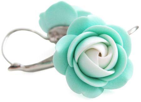 Troli Biało-mentol kolczyki wisiorek kwiaty