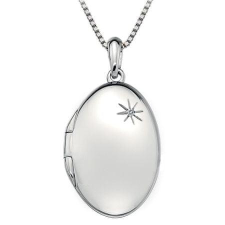 Hot Diamonds Srebrny naszyjnik Hot Diamonds DP493 Pamiętniki medalik owalny srebro 925/1000