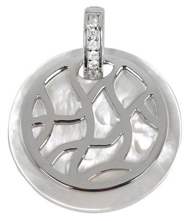 Silver Cat Strieborný prívesok s perleťou a kryštály SC155 striebro 925/1000