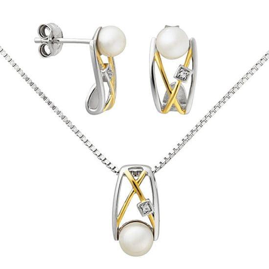 Silver Cat Srebrni uhani z bisernim in kristalnim SC153