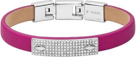 Fossil Rózsaszín bőr karkötő kristályokkal díszítve JF01952040