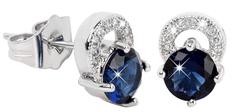 Troli Překrásné třpytivé náušnice s modrými krystaly