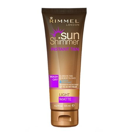 Rimmel Voděodolný samoopalovací krém SunShimmer (Instant Tan Water Resistant Matte) 125 ml (Odstín 001 Ligh