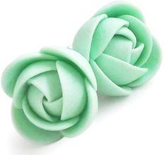 Troli Zelenkavé náušnice puzetky kytičky
