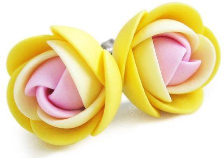 Troli Różowe i żółte kolczyki kwiat puzetky