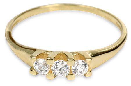 Brilio Zlatý dámský prsten s krystaly 229 001 00707 - 1,35 g (Obvod 54 mm) zlato žluté 585/1000