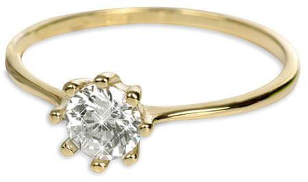 Brilio Zlatý zásnubní prsten s krystalem 226 001 00934 - 1,30 g (Obvod 55 mm) zlato žluté 585/1000
