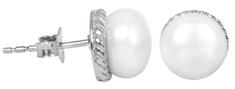 JwL Luxury Pearls Stříbrné náušnice s pravou bílou perlou JL0185 stříbro 925/1000