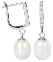 JwL Luxury Pearls Elegantní náušnice s perlou a krystaly JL0187 stříbro 925/1000