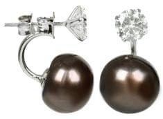 JwL Luxury Pearls Stříbrné dvojnáušnice s pravou hnědou perlou a krystalem JL0217 stříbro 925/1000