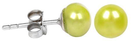 JwL Luxury Pearls Stříbrné náušnice s pravou zelenou perlou JL0219 stříbro 925/1000