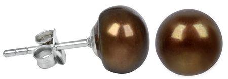 JwL Luxury Pearls Stříbrné náušnice s pravou hnědou perlou JL0224 stříbro 925/1000