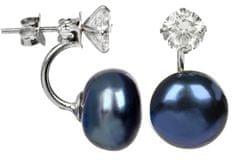 JwL Luxury Pearls Stříbrné dvojnáušnice s pravou modrou perlou a krystalem JL0225 stříbro 925/1000