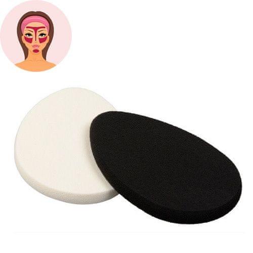 Sefiros Oválná houbička na make-up Black & White (Make-Up Sponge) 2 ks