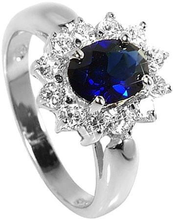 Brilio Silver Strieborný prsteň s modrým kryštálom 5121615S (Obvod 54 mm) striebro 925/1000