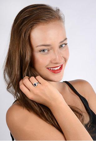 Strieborný prsteň s modrým kryštálom 5121615S (Obvod 54 mm) striebro  925 1000 1ec457e73a9