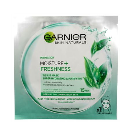 Garnier Superhydratační maski mycia twarzy z zielonej herbaty + wilgoci świeżości (tkanka Super uwadniające
