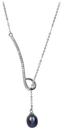 JwL Luxury Pearls Ezüst nyaklánc fémes acélkék színű gyönggyel és cikrónia kővel JL0242 ezüst 925/1000