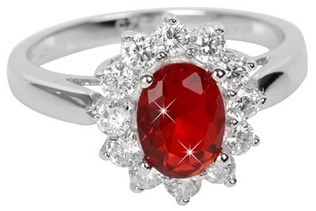 Brilio Silver Strieborný prsteň s červeným kryštálom 5121615R (Obvod 58 mm) striebro 925/1000