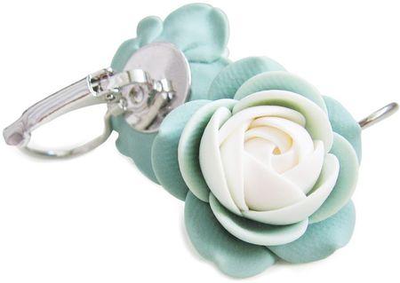 Troli Fehér-zöld virág fülbevaló