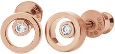 Skagen Bronzové náušničky s krystalem SKJ0853791