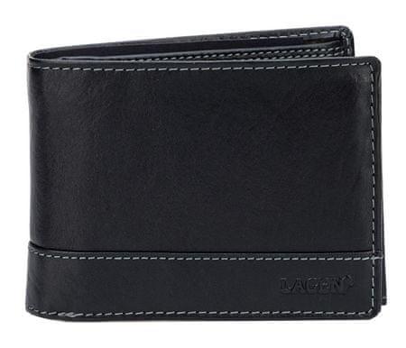 Lagen Pánska čierna kožená peňaženka Black V-76 T - Diskusia  b5e080f4395