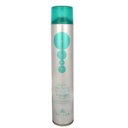 Kallos Extra silně tužící lak na vlasy s keratinem (Hair Spray Extra Strong With Keratin) (Objem 750 ml)