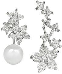 JwL Luxury Pearls Asymetrické náušnice - dvojnáušnice s pravou bílou perlou a záušnice se zirkony JL0260 stříbro 925/1000