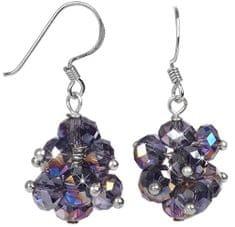 JwL Luxury Pearls Zářivé náušnice z broušených fialových krystalů JL0269 stříbro 925/1000