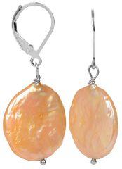 JwL Luxury Pearls Stříbrné náušnice s pravou zlatavou perlou JL0274 stříbro 925/1000