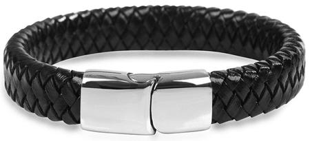 Troli Leather fonott fekete bőr karkötő