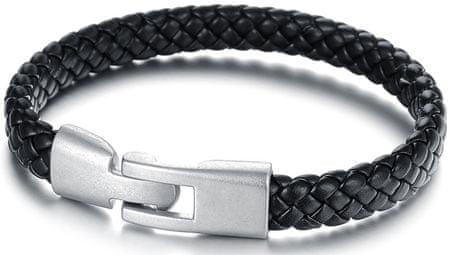 Troli Černý pánský náramek z proplétané kůže Leather