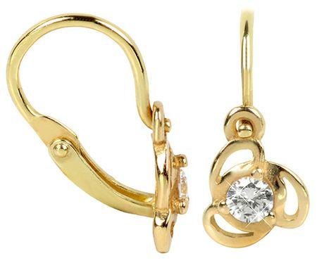 Brilio Dětské zlaté náušnice s čirým krystalem 236 001 00950 - 0,80 g zlato žluté 585/1000