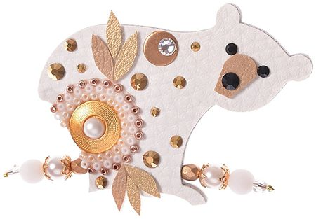 Petra Švarcová Zlatistá brošňa Ľadový medveď