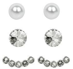 Levien Náušnice Set Ear Cuff 4 v 1 Silver Crystal White
