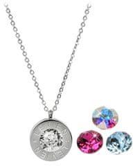 Levien Ocelový náhrdelník 4 v 1 s výměnnými krystaly C-FU-AQ-AB